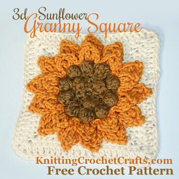 3d Sunflower Granny Square: Free Crochet Pattern