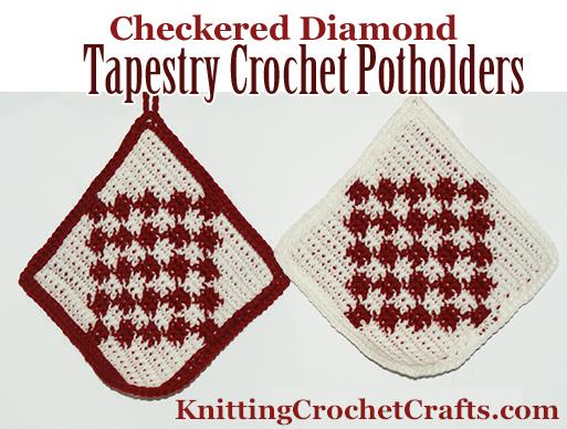 Checkered Diamond Tapestry Crochet Potholders