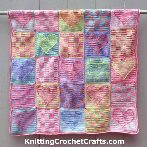 Crochet Baby Blanket With Heart Pattern